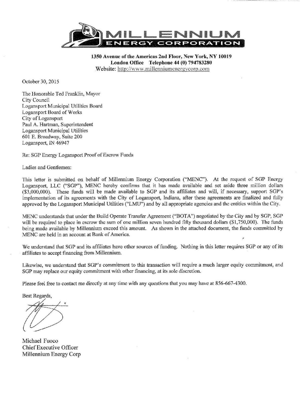 Millennium Energy Corp Letter Pharostribune