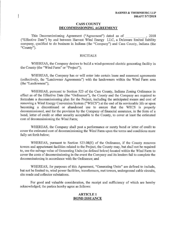 Decommissioning Agreement