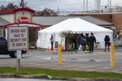 Employees line up at Tyson for COVID-19 testing