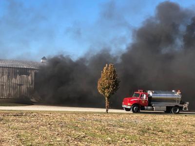 Barn on fire on U.S. 35