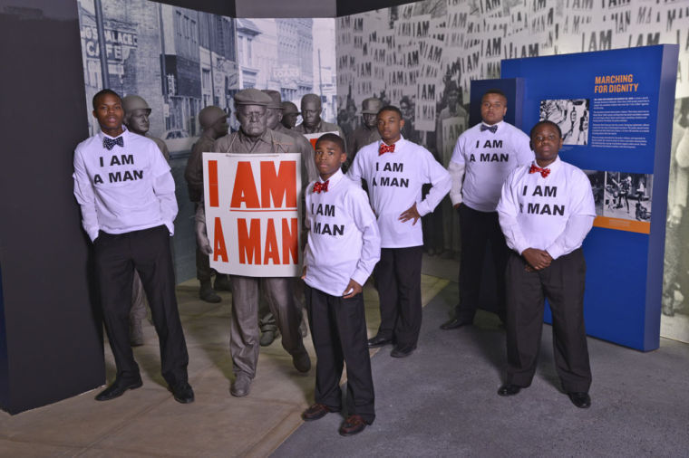 """Unidentifed students visit the """"I Am Man"""" exhibit at the National Civil Rights Museum at the Lorraine Hotel"""