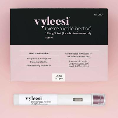 This image provided by Amag Pharmaceuticals in June 2019 shows packaging for their drug Vyleesi. The medication OK'd on June 21 by the U.S. Food and Drug Administration is only the second approved to increase sexual desire in a women, a market drugmakers have been trying to cultivate since the blockbuster success of Viagra for men in the late 1990s. — Amag Pharmaceuticals via AP