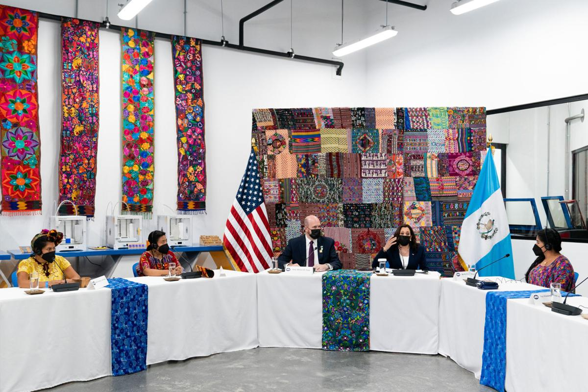 Vice President Kamala Harris during a roundtable discussion