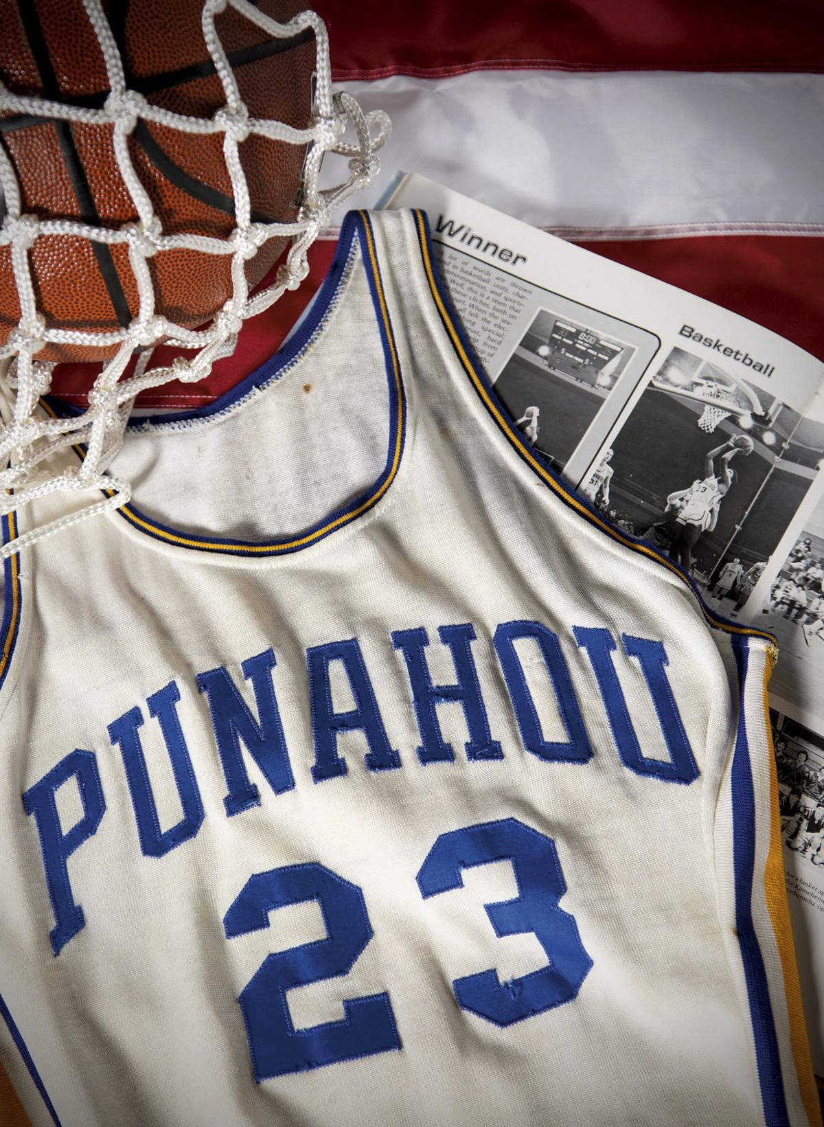 This undated photo released by Heritage Auctions shows a Punahou High School basketball jersey worn by former student Barack Obama. Bidding was drawing to a close Friday for the basketball No. 23 Punahou School jersey believed to have been worn by Obama. He wore that number during the 1978-79 school year in Honolulu. — Heritage Auctions via AP