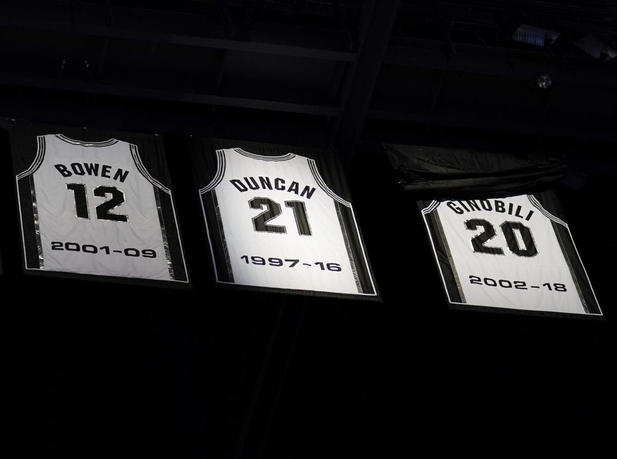 new concept ee02b 7ed59 Spurs retire Ginobili's jersey during emotional ceremony ...