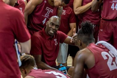 First-year Temple head coach Aaron McKie had the Owls' attention during their trip to the Bahamas.  — PHOTO COURTESY OF TEMPLE UNIVERSITY