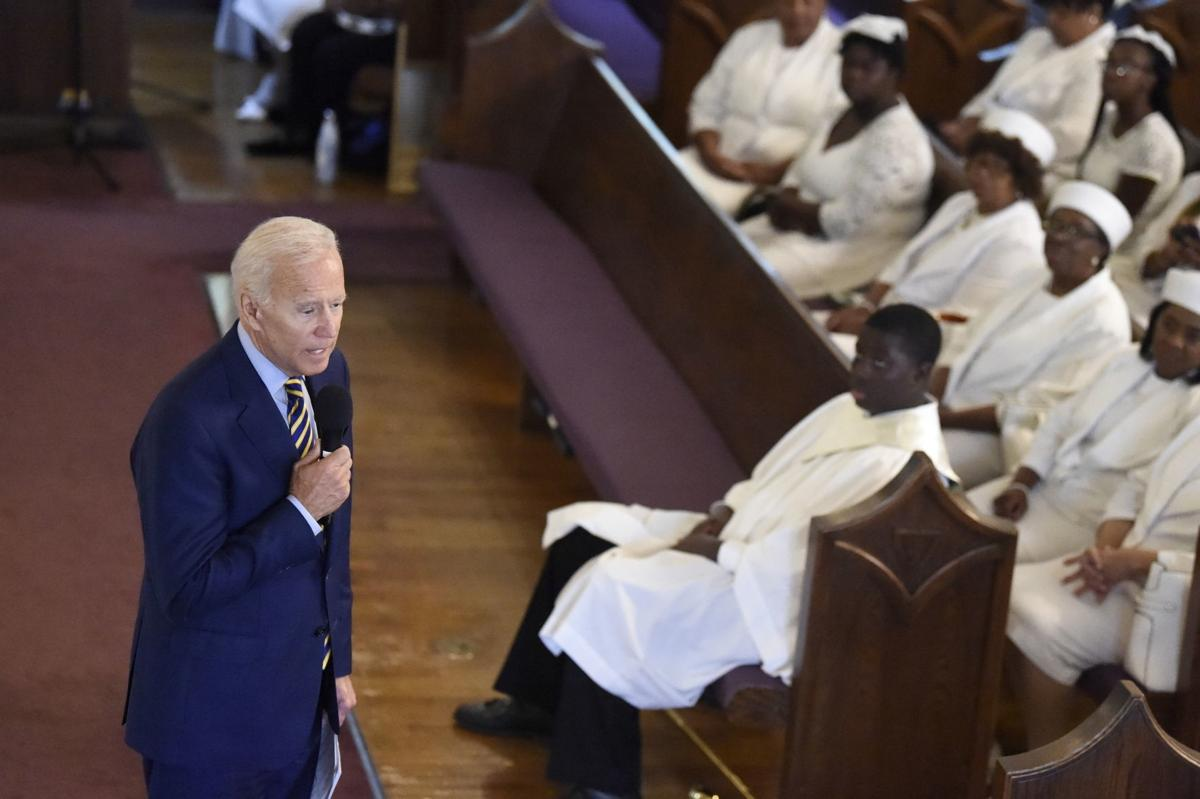 In this July 7 file photo, Democratic presidential candidate and former vice president Joe Biden speaks at Morris Brown AME Church in Charleston, South Carolina. A Catholic priest in South Carolina denied communion to Joe Biden over the weekend, a decision purportedly made over the former vice president's stance on abortion. — AP Photo/Meg Kinnard, File