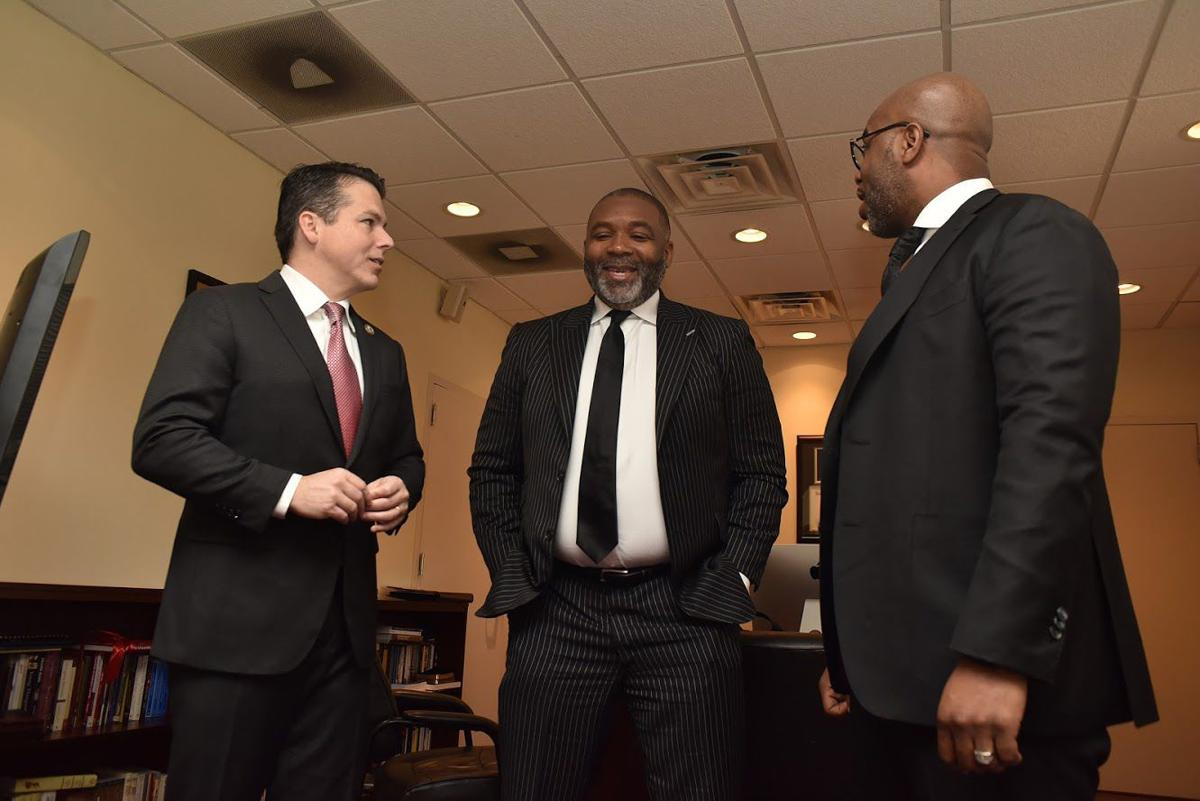 U.S. Rep. Brendan Boyle, Bishop Donte L. Hickman Sr. and the Rev. Darron D. McKinney Sr. share a moment at Bright Hope Baptist Church on Sunday. The historic church celebrated it's 110th anniversary. TRIBUNE PHOTOS/RONALD GRAY
