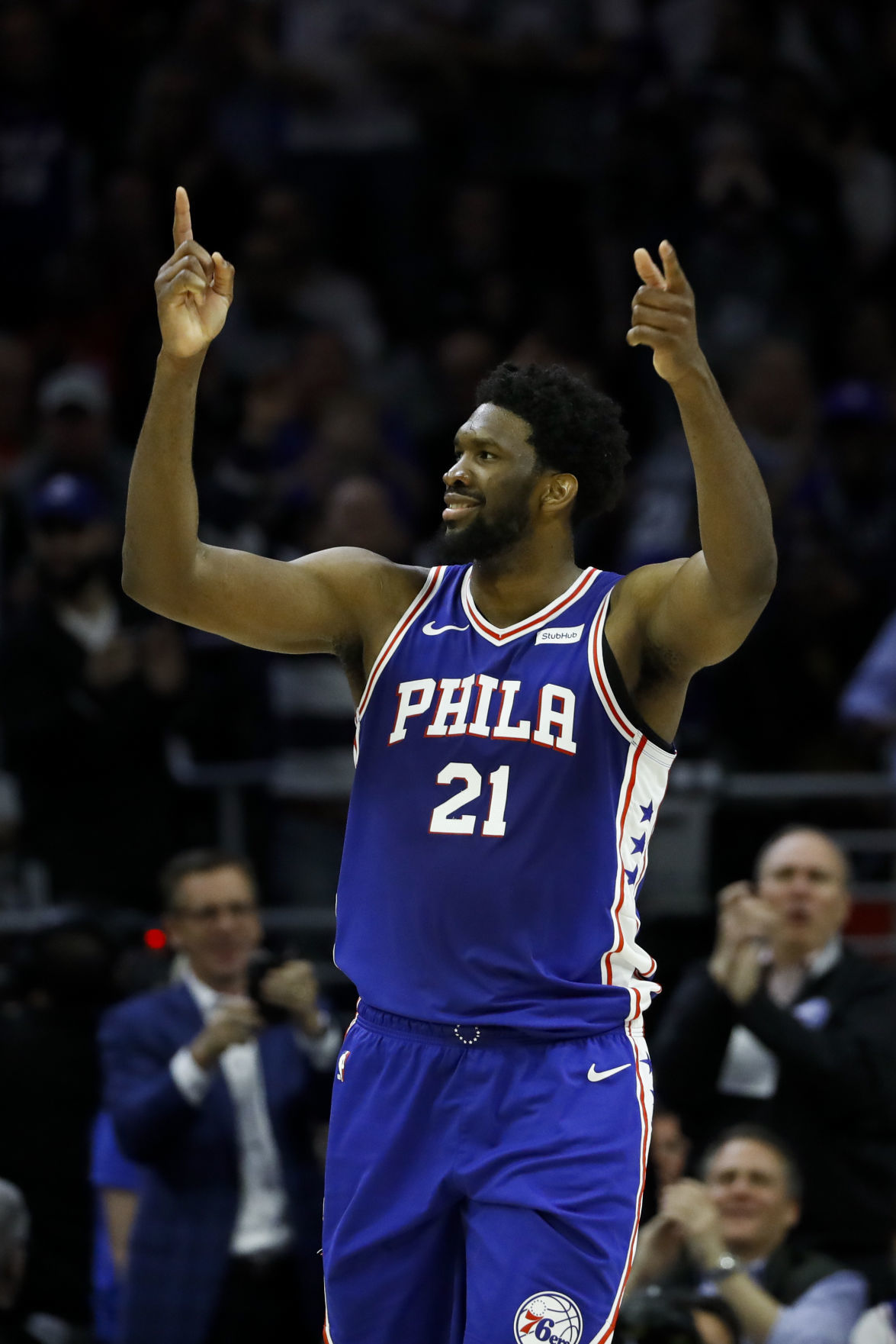 Philadelphia 76ers' center Joel Embiid celebrates scoring after a basket against the Boston Celtics. — AP Photo/Matt Slocum