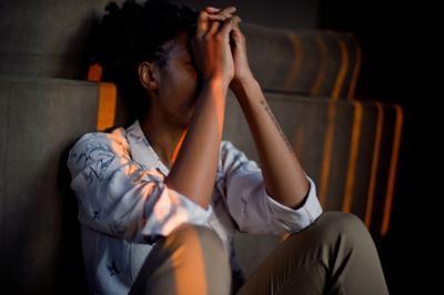 black woman cry stock