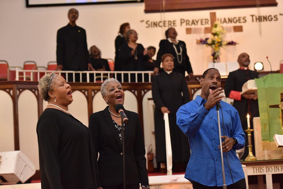 The Praise & Worship Team sings a song.