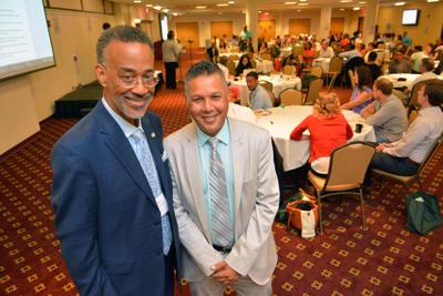 Roundtable Director of Advancement and Operations Thomas Butler, left, with Temple University College of Education Dean Gregory M. Anderson, shown here at the two-day Philadelphia College Prep Roundtable conference at St. Joseph's University