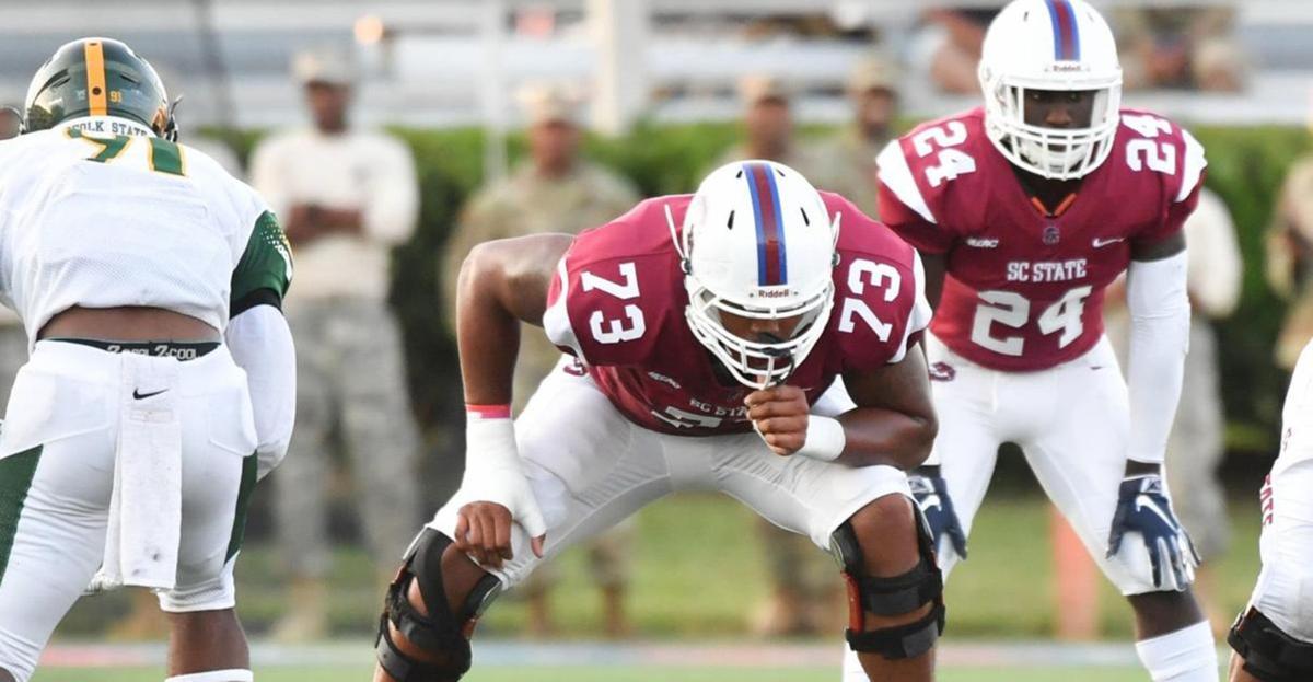 South Carolina State University offensive tackle Alex Taylor could be a key draft pick. — PHOTO COURTESY OF SOUTH CAROLINA STATE UNIVERSITY.