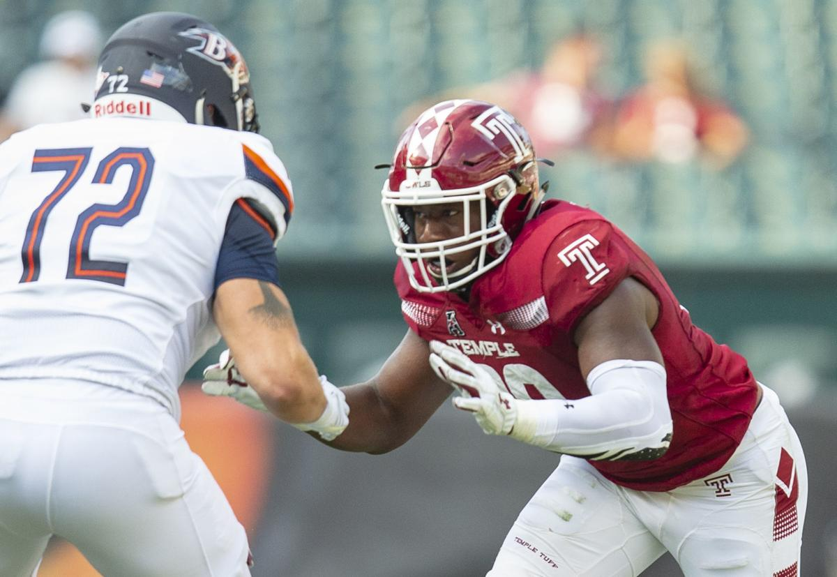 Quincy Roche is a 6-foot-4, 235-pound redshirt junior defensive end. — PHOTO COURTESY OF ZAMANI FEELINGS/TEMPLE ATHLETICS