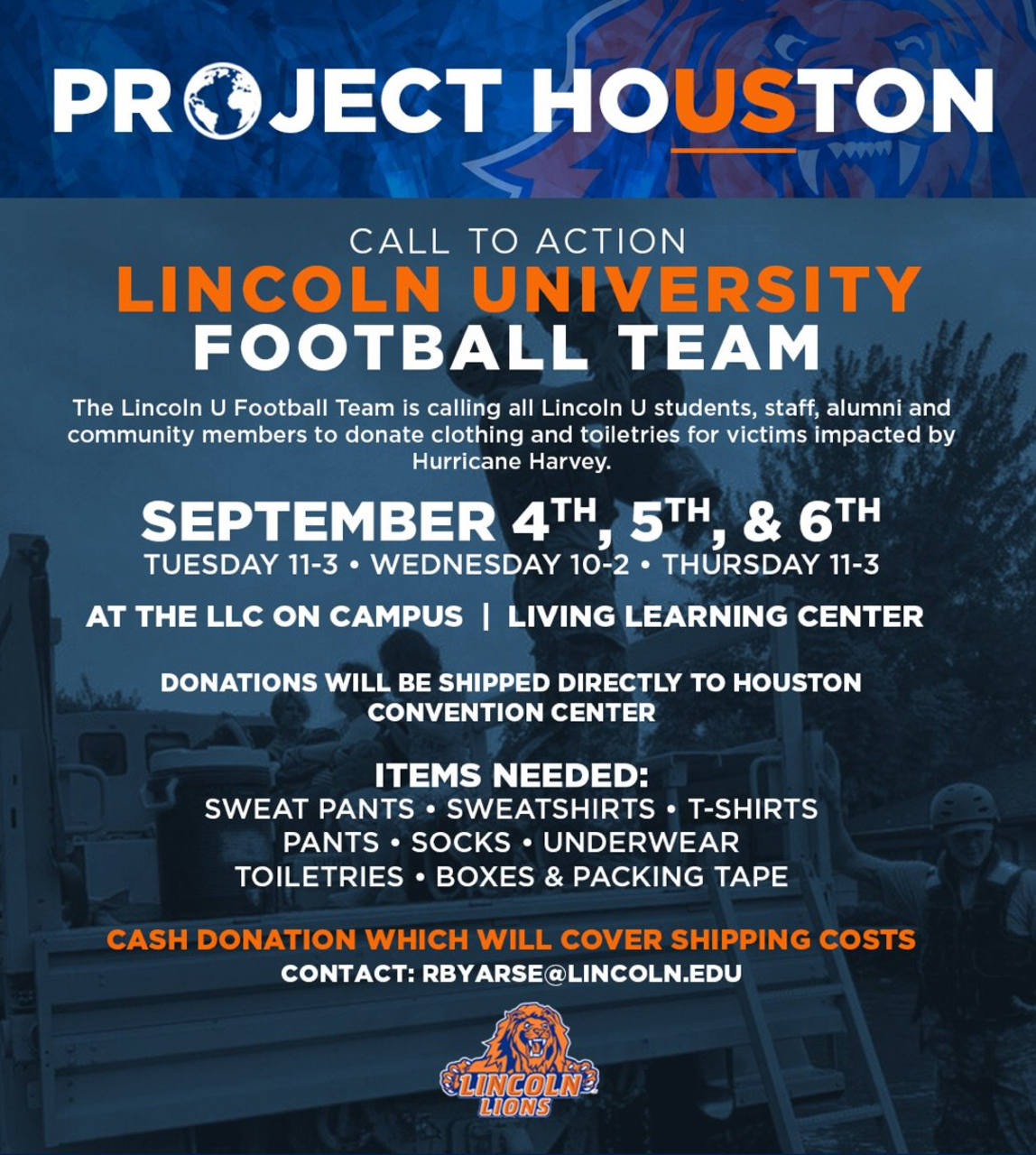 Lincoln Univ Athletes Launch Project Houston To Help Harvey
