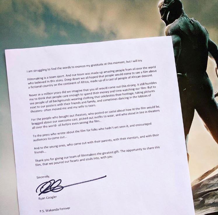 Black Panther' director Ryan Coogler pens emotional thank-you to