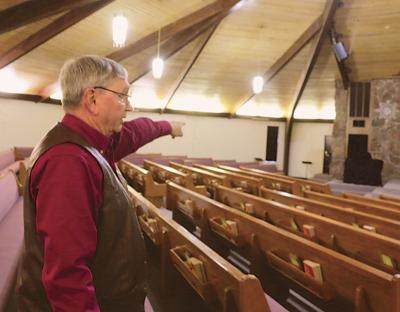 In this Dec. 27, 2019 photo, Bart Bartels, who leads the security team at Northfield Church in Gering, Neb., talks about how members of the church's security team protect the congregation. — Maunette Loeks/The Star-Herald via AP