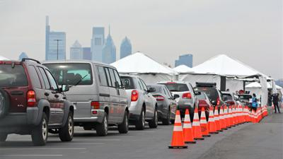 Drive-thru testing site in South Philly