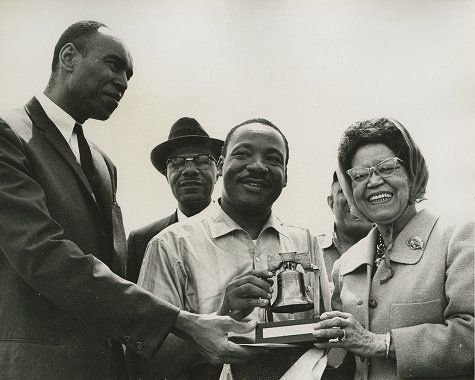 Sadie T. M. Alexander presents Martin Luther King Jr. with a replica of the Liberty Bell