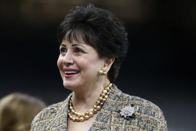 In this Nov. 24, 2019, file photo, New Orleans Saints owner Gayle Benson, watches the team warm up, before an NFL game against the Carolina Panthers in New Orleans. — AP Photo/Butch Dill, File