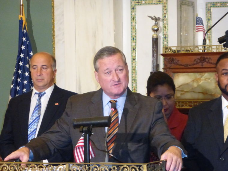 former councilman jim kenney, shown here delivering remarks in city council