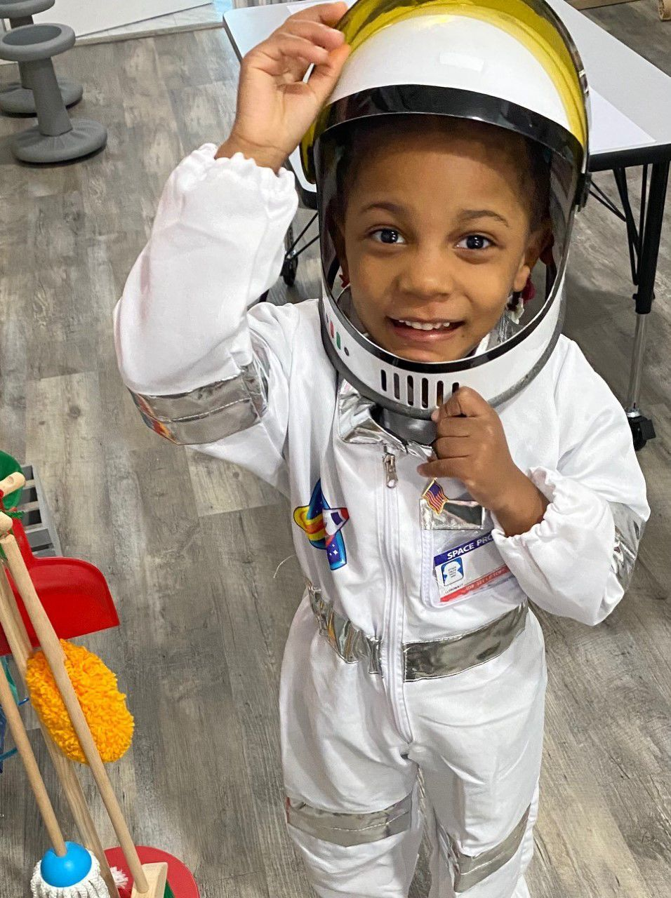 Preschooler dresses up as an astronaut