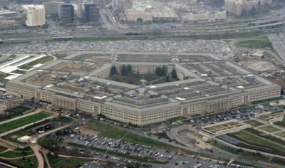 This March 27, 2008, aerial file photo, shows the Pentagon in Washington. A Federal court on Thursday ordered the Pentagon to temporarily halt work with Microsoft on its $10 billion military cloud contract. — AP Photo/Charles Dharapak, File)
