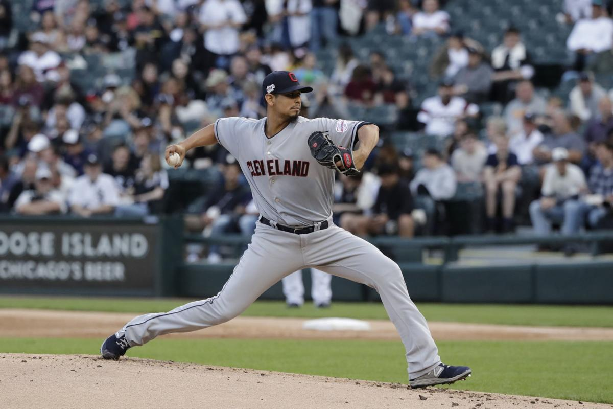 In this May 30 file photo, Cleveland Indians starting pitcher Carlos Carrasco throws against the Chicago White Sox.— AP Photo/Nam Y. Huh, File