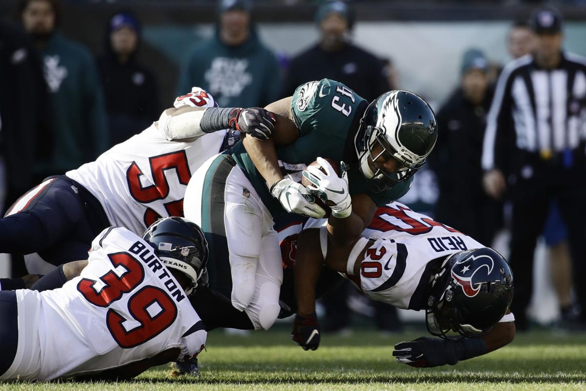 The Philadelphia Eagles  Darren Sproles (43) is tackled by the Houston  Texans  Justin Reid (20) 5ed5652e8