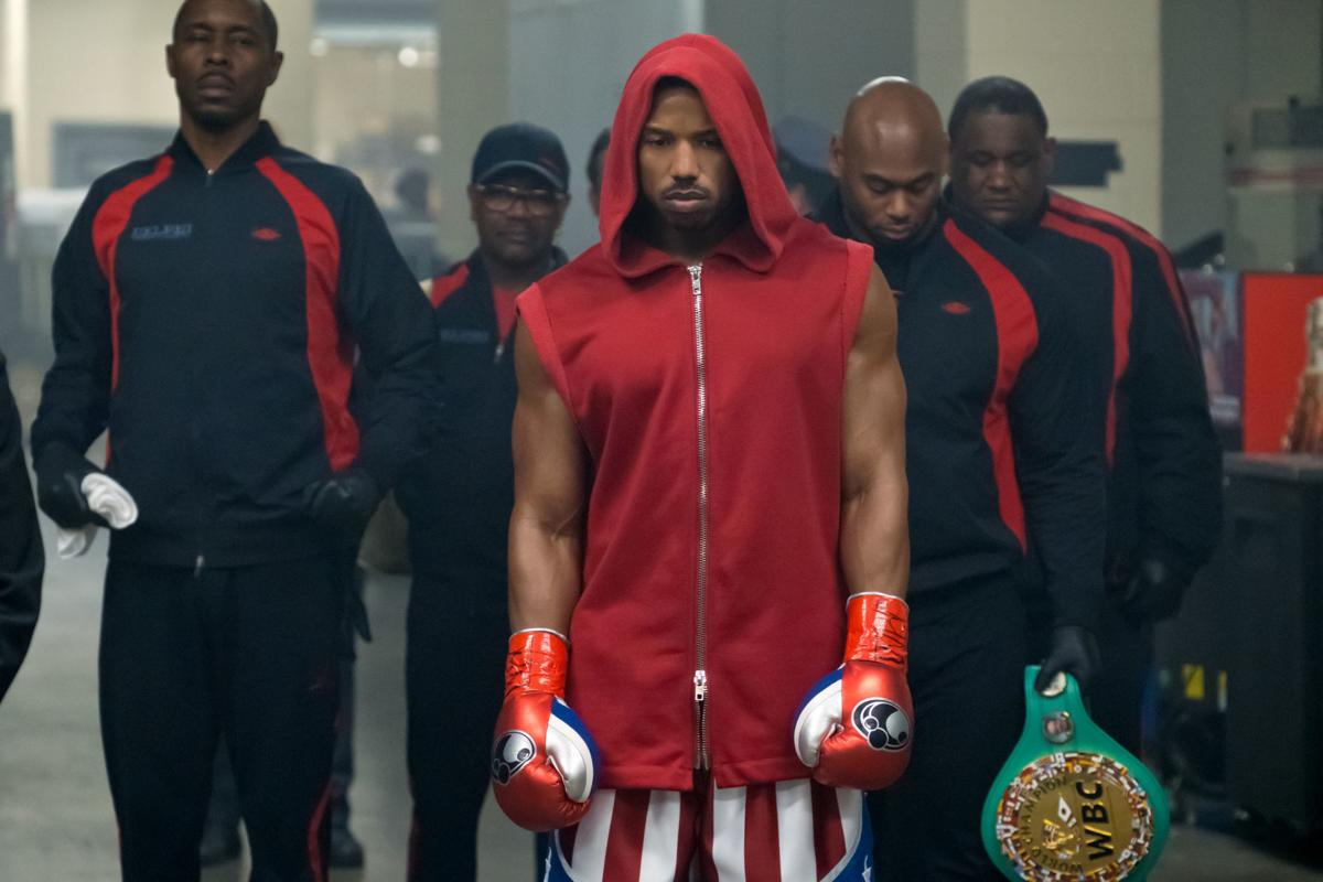 """0c3f0840ea5 Wood Harris, left, stars as Tony 'Little Duke' Burton and Michael B. Jordan,  center, as Adonis Creed in """"Creed II,"""" a Metro Goldwyn Mayer Pictures and  ..."""