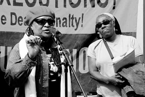 MOVE Members Pam Africa, right, and Ramona Africa, left, at a recent free Mumia Abu-Jamal rally in New York.