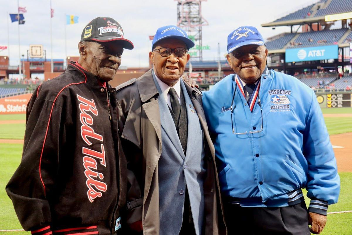 From left, Tuskegee Airmen James Cotten, Eugene Richardson and Nathan Thomas, were honored prior to the New York Mets - Philadelphia Phillies game at Citizens Bank Park as Major League Baseball commemorated  Jackie Robinson Day Monday night. — TRIBUNE PHOTOS BY KAYLA BROWN