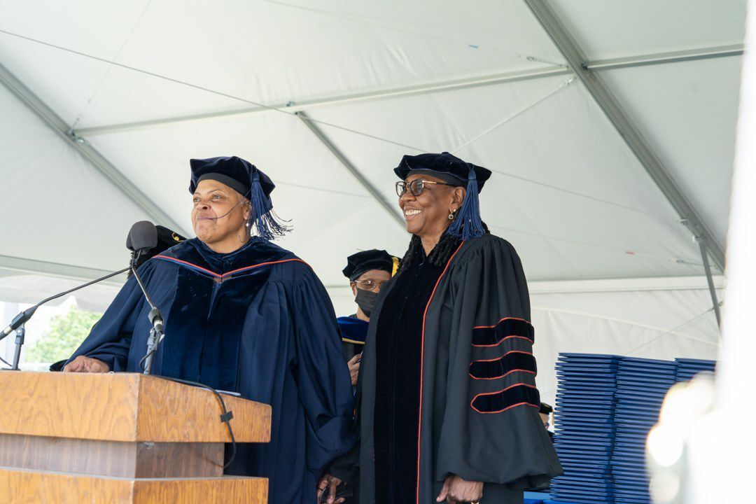 """Gloria Carter, mother of Shawn """"Jay-Z"""" Carter, right, with Lincoln U president Brenda Allen"""