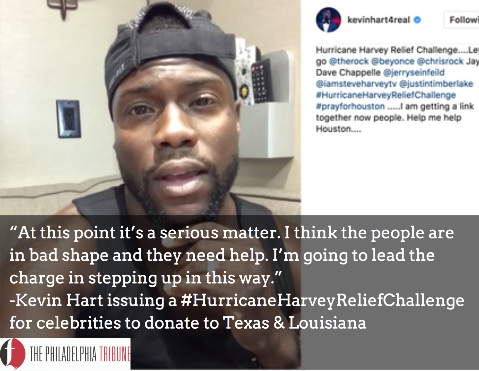 Kevin Hart Has A Message For Beyoncé About Hurricane Harvey
