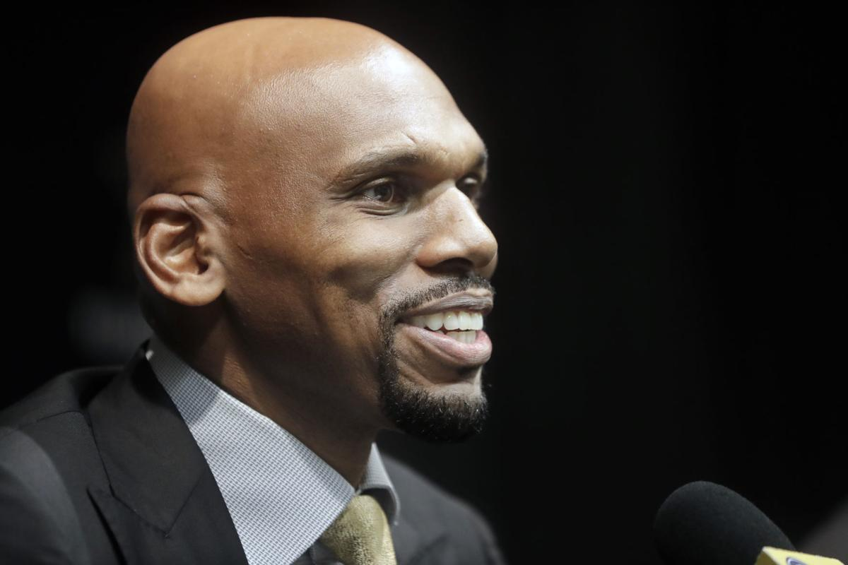 In this April 8 file photo, Vanderbilt basketball coach Jerry Stackhouse answers questions at a news conference in Nashville, Tenn. — AP Photo/Mark Humphrey, File
