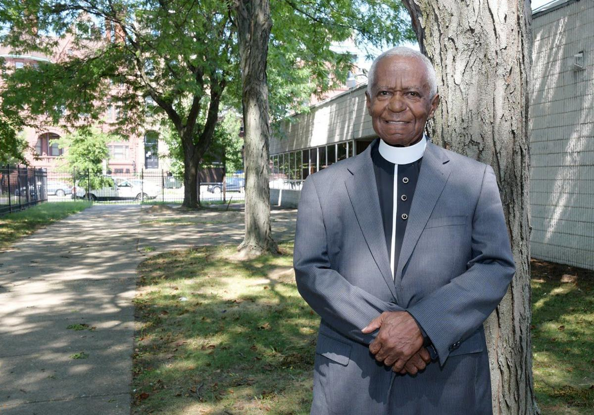 Senior pastor of Mount Olive Holy Temple, Bishop Thomas J. Martin Jr., stands outside the church. TRIBUNE PHOTOS BY MARISSA WEEKES MASON