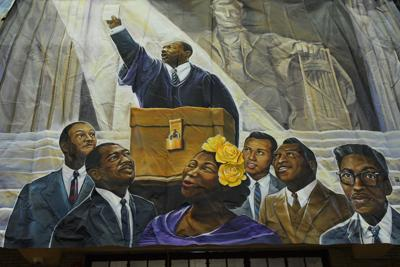 A mural honoring Martin Luther King Jr. at Girard College