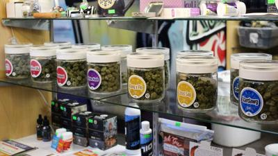 Marijuana jars in display