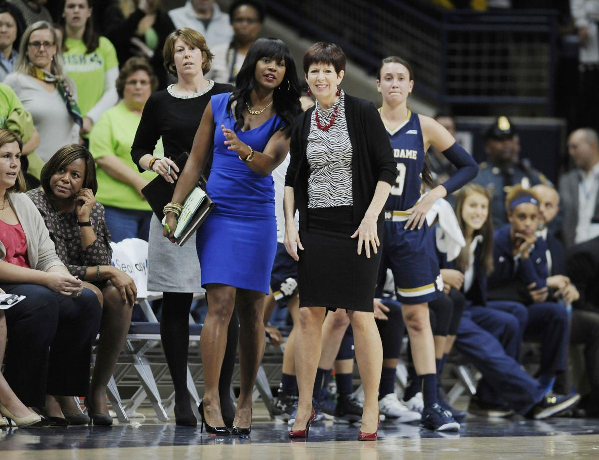 In this Dec. 5, 2015, file photo, Notre Dame head coach Muffet McGraw, right, watches play with associate coach Niele Ivey, left, during the first half of an game in Storrs, Conn. The Memphis Grizzlies announced Monday that they have hired Ivey, a former Notre Dame women's associate head coach, as an assistant for coach Taylor Jenkins.— AP Photo/Jessica Hill, File