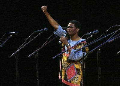 In this Jan. 20, 2008 file photo, Ladysmith Black Mambazo founding member Joseph Shabalala gestures to the audience during the group's performance at the Kimmel Center. The founder of the South African multi-Grammy-Award-winning music group Ladysmith Black Mambazo, Joseph Shabalala, has died at age 78. Shabalala died at a hospital in the capital Pretoria on Tuesday Feb. 11, 2020. — AP Photo/Joseph Kaczmarek, File