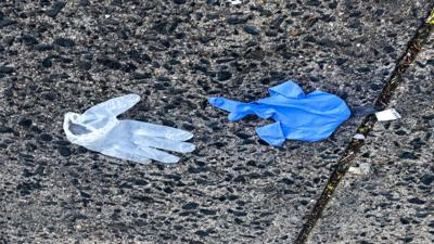 Disposable gloves and masks have contributed to Philadelphia's litter problem. (Twitter/Philadelphia Water)