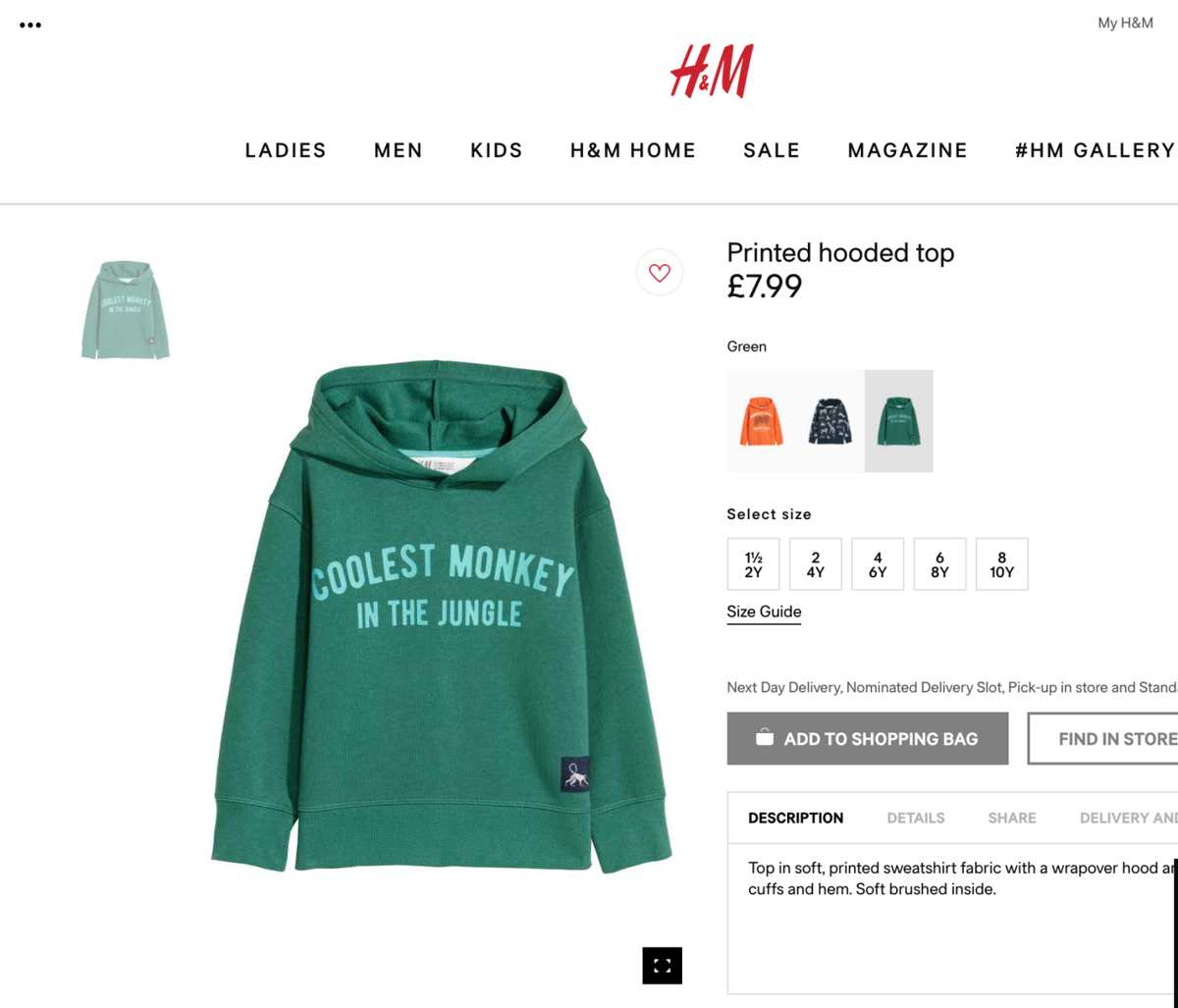 Hm Pulls Online Ad With Black Boy Wearing Monkey Shirt News