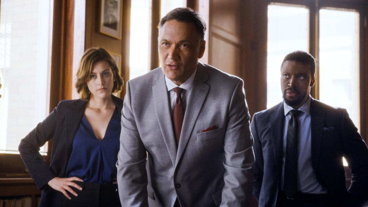 """Caitlin McGee, Jimmy Smits and Michael Luwoye in a scene from """"Bluff City Law"""""""