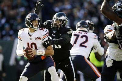 Chicago Bears' Mitchell Trubisky (10) is tackled by Philadelphia Eagles' Derek Barnett (96) during the first half of Sunday's game at Lincoln Financial Field. — AP Photo/Matt Rourke