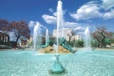 Swann Fountain graces both square and city