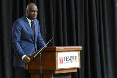 New Temple University head basketball coach Aaron McKie speaks during a press conference at McGonigle Hall. — PHOTOS BY ABDUL SULAYMAN/TRIBUNE CHIEF PHOTOGRAPHER