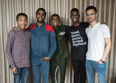 """""""When They See Us"""" - Asante Blackk, from left, Jharrel Jerome, Caleel Harris, Ethan Herisse, and Marquis Rodriguez"""