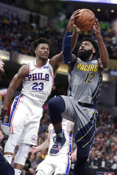 21020e6a Embiid, Butler lead 76ers' 120-96 rout of Pacers | Basketball ...