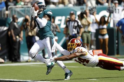 Philadelphia Eagles' DeSean Jackson hauls in a pass against the Washington Redskins Sunday at Lincoln Financial Field. — AP Photo/Michael Perez