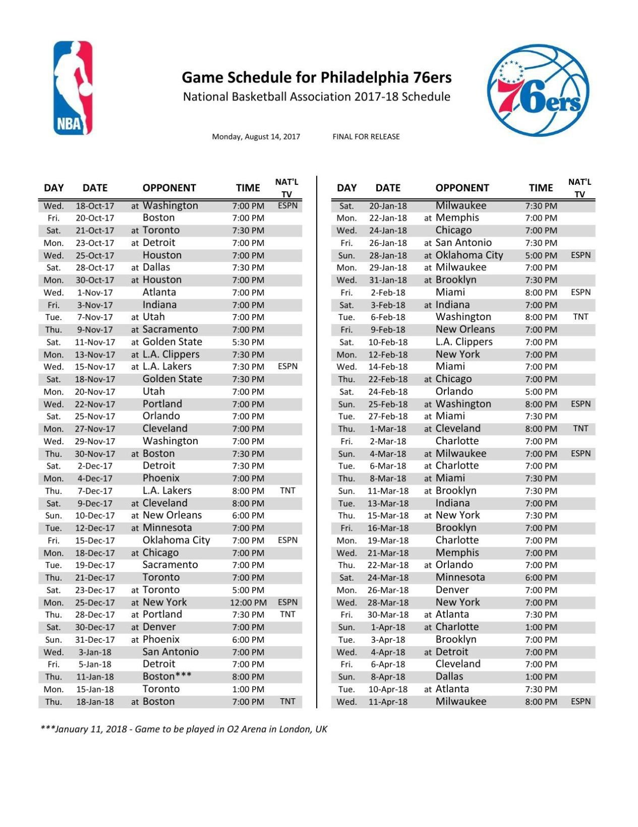 image relating to Uk Basketball Schedule -16 Printable called Sixers Routine